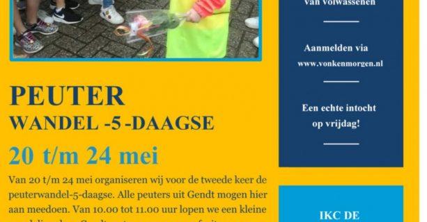 Wandelvijfdaagse peuters 20 t/m 24 mei