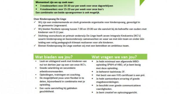 Kom werken bij De Linge als Pedagogisch Medewerker!