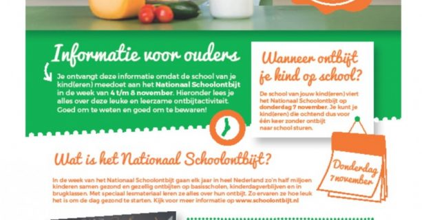 Nationaal schoolontbijt met als thema 'Neem je tijd voor het ontbijt!'